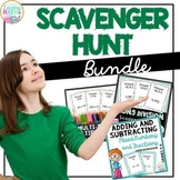 Long Division, 2 Digit Multiplication, Mixed Numbers - Scavenger Hunt BUNDLE