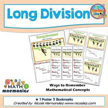 Math Mnemonics {Long Division  with Daring Monkeys}