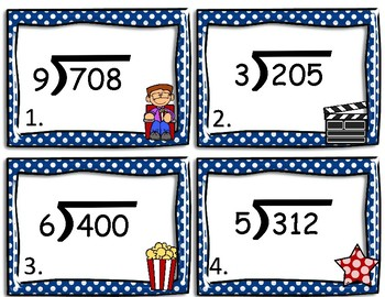 Long Division- 3 Digit By 1 Digit- Movie Theme Center