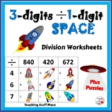 Long Division ... 3-digits by 1-digit ... SPACE Worksheets ... MATH core Gr. 4
