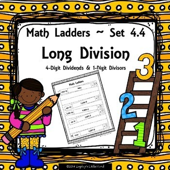 Long Division -  4 Digit Dividends, 1 Digit Divisors - Set 4.4 {Math Ladders}