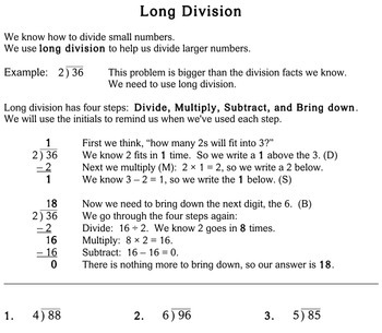 Long Division, 4th grade - Individualized Math - worksheets