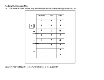 Long Division: A second look at the problem