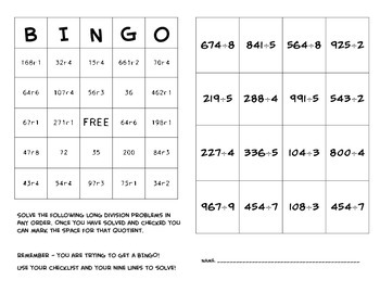 Long Division BINGO by just some stuff that can be used | TpT