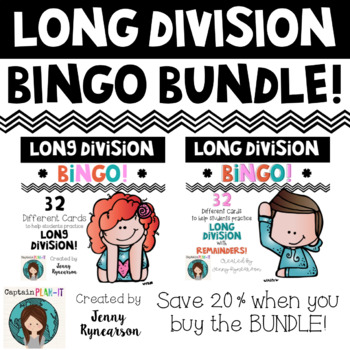 Long Division BINGO Bundle! Two 32 Card Sets - One with Re
