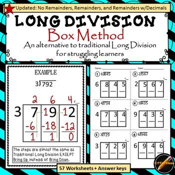 Long Division Box Method Worksheets & Teaching Resources | TpT