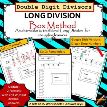 Long Division: Horizontal Box Method- Double Digit Divisor Version