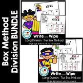 Long Division: Box Method Task Cards-  WITH and WITHOUT remainders BUNDLE
