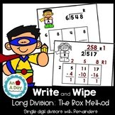 Long Division: Box Method Task Cards-  WITH remainders