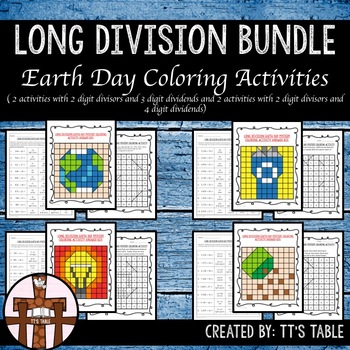 Long Division Bundle Earth Day Mystery Coloring Activities