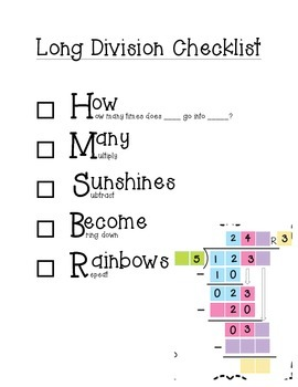 Long Division Checklist