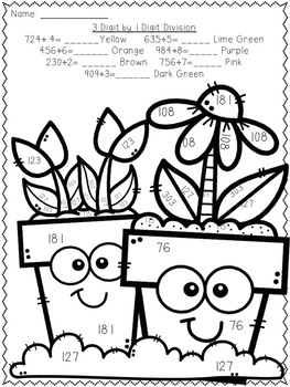 Long Division Color-By-Number Spring Themed