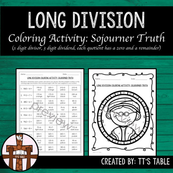 Long Division Coloring Activity Sojourner Truth