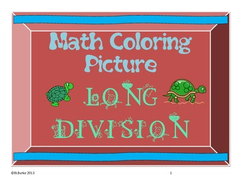 Long Division Coloring Picture - Turtle