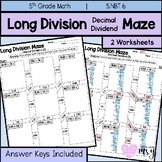 Long Division Decimal Dividend Maze Practice