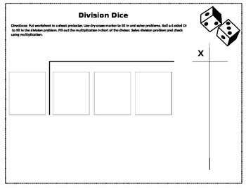 Long Division Dice Station
