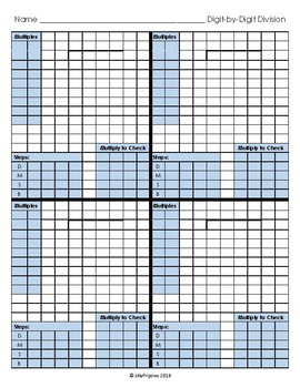 Long Division (Digit-by-Digit) Modified Graph Paper