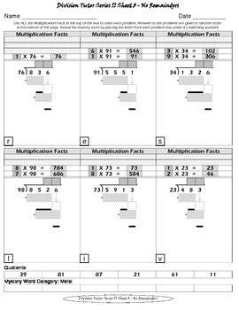 Long Division (Division Tutor Series II - SET 1 Grayscale)