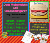 Long Division - Does McDonalds Sell Cheese Burgers? Math Notebook and Activities