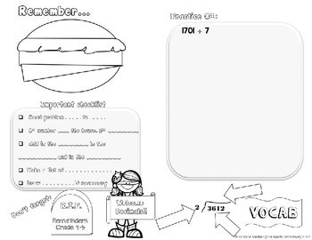 Long Division - Doodle Note Brochure for Interactive Notebooks