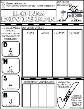 Long Division Doodle Notes