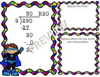 Long Division Error Analysis Worksheets