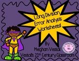 Long Division Error Analysis Worksheets