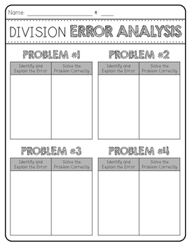 Long Division Error Analysis Activity