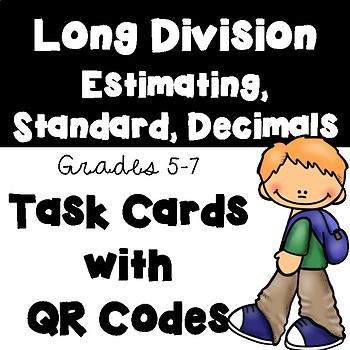 Long Division: Estimating, Standard Algorithm, and Decimals (Optional QR Codes)