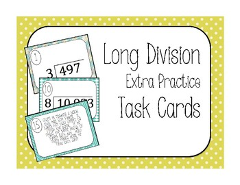 Long Division Extra Practice Task Cards