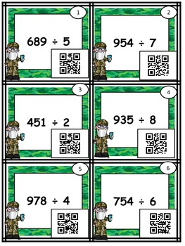 """Long Division """"Four In A Row"""" Game & Sort (with & without QR codes)"""