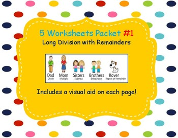 Long Division Worksheet Packet WITH remainder 5 pages Accommodated Learning