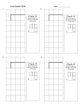 long division grids by elizabeth vohland teachers pay teachers. Black Bedroom Furniture Sets. Home Design Ideas