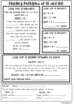Understanding Long Division Interactive Notebook Pages and Student Activities