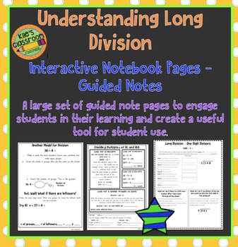 Understanding Long Division Interactive Notebook Pages and