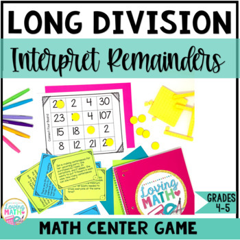 Long Division Word Problems Game - Interpreting Remainders DIFFERENTIATED