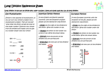 Long Division Lesson for Interactive Math Notebooks