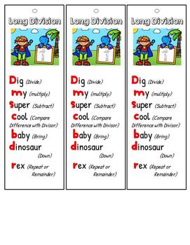 Math Mnemonics {Long Division with Baby Dinosaur Rex}