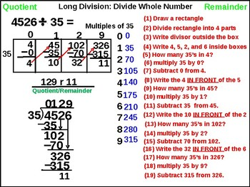 4th, 5th and 6th: Non-Traditional Long Division
