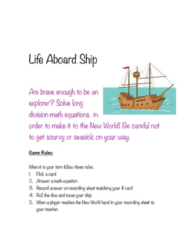 Long Division Math Game- Life Aboard Ship