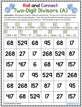Long Division Math Game: Roll and Connect (6.NS.2/5.NBT.6)