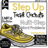 Long Division Math Multi-Step Word Problems Task Cards 5th Grade 5.NBT.6