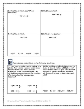 Division Mini-unit with Long Division, Estimation, and Word Problems
