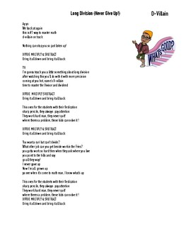 Long Division (Never Give Up) Math Rap Lyrics