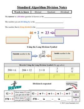 Long Division Notes (Standard Algorithm)