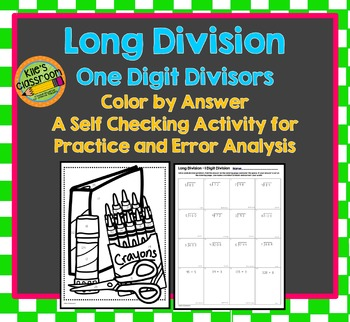 Long Division One Digit Divisor Color By Number