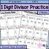 Long Division One Digit Divisor Maze Practice