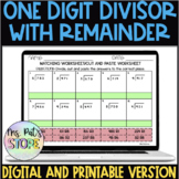 Long Division-One digit with remainder matching division