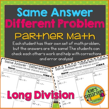 Long Division Partner Math Activity/Same Answer - Different Problem