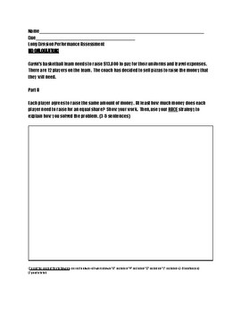 Long Division Performance Assessment